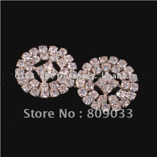 Round Pair Buckle For Silk Invitation Box, Wedding Embellishment, Diamante Buckles, Clear Buckles(China (Mainland))
