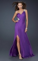New arrival!Free shipping!one-shoulder beaded front splited chiffon custom-made evening dresses 2013