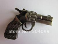 Retail Free Shipping Creative Revolving pistol usb flash memory, Metal material waterproof 4gb usb flash stick