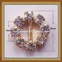 4mm inner bar round rhinestone buckle for wedding invitation