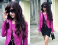 Fashion Womens Korea Sexy Leather Hot pink Ladies leather Jacket Coat Fur Clothing (Drop shipping)