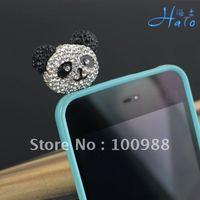 Mobile Phone Jewelry!IP002!10pcs/Lot!Crystal colors!High Popular Rhinestone  Crystal Panda Fashion Phone Dust Plug