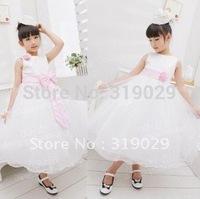 2014 Flower girl dress Party dress High quality Chiffon dresses Sleeveless Children Casual clothing 100-160cm