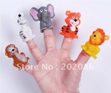 Trialsale 50pcs Animal finger puppet toy plastic finger puppets free shipping(China (Mainland))