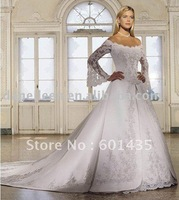 Freeshipping! WR1706 Victorian Bling Vintage Lace Long Sleeve Plus Size Wedding Gowns