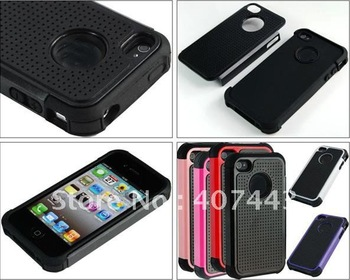 For iphone 4 4S Defender Skin Case,Silicone Plastic Hard Shell Cover case 200pcs/lot Free shipping