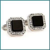 Good Copper Fashion Jewelry Cufflinks Men's Clear Crystal With Onyx Cufflinks , New Design Cufflinks, Free shipping