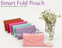 Free Shipping!50pcs/lot Hot Sales New 3 fold pu crown mobile phone case  pouch bag card case wallet smart fold pouch