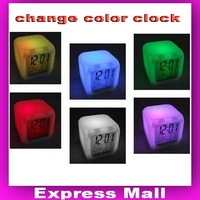 FREE SHIPPING  Wholesale Glowing LED Color Change Digital Alarm Clock,7 Color Change Solid Color Alarm Clock