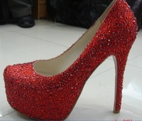 Free shipping!16CM and 14CM heel, wedding shoes,pretty red crystal shoes for wedding ceremony