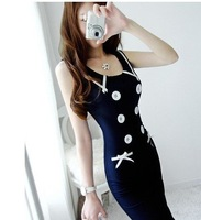 Женское платье S-XL manufacturers supply sexy Women's fashion Dress with black bow #W029