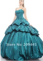 New Design!! Ball Gown Blue Taffeta with Tulle Overlaid Spaghetti Strap Quinceanera Dresses