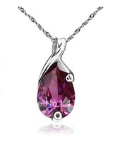 925 silver pendants chains wholesale high temperament natural amethyst angel tears fell a D8518