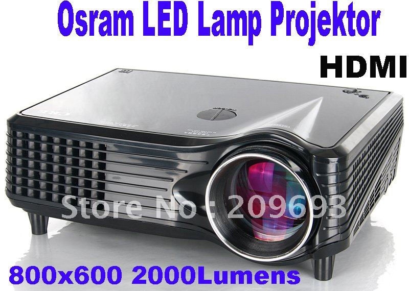 Free Shipping By DHL EMS 2000 Lumens Long Life Osram LED Lamp With TV Turner LCD Projektor(China (Mainland))