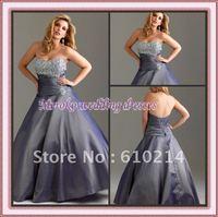 Taffeta Beaded A-line Prom Formal Dresses Pleated Waist 2012 Fashion Plus Size Evening Dresses Sweetheart Neckline Quinceanera
