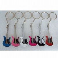 Mixed Color Cute Alloy Guitar Gift Key Chain / Key Ring (SC-21)