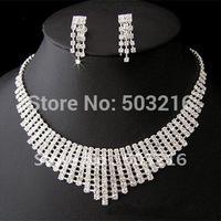 High Quality Rhinestone Crystal Bridal Wedding Jewelry Set Fashion Silver Necklace Prom Jewelry