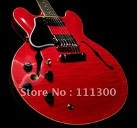 hot Musical Instruments Custom Shop 335 Dot Reissue Figured Electric Guitar, Gloss Cherry