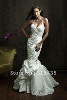 Free shipping YD-20 New Elegant  Mermaid Beaded Sleeveless Write/Ivory Wedding Dress Custom-made