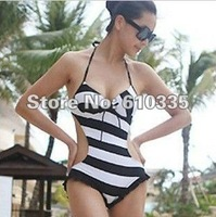 Wholesale 2012 New Style Sexy Bikini Monokini Swimsuit Halter Pad black 2colors LQ01  Free Shopping
