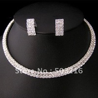 High Quality Hot Selling Silver Plated Clear Rhinestone Promotion Wedding Jewelry Set