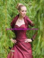 2012 New Arrival No Risk Shopping Fashion Long Sleeve Dark Red Bridal Jacket