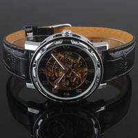 Luxury Style 5pieces Black Rose Golden Dial Automatic Leather Mechanical Wristwatch Men mech NT0142