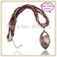Newest Bohemia Braided imitation Gemstone Necklace Bohemia Jewellery Pendant Min $10 Can Mix Free Shipping