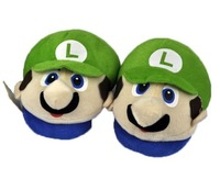 NEW One Pair GREEN Super Mario BROS LUIGI Soft Stuffed Slipper FREE SHIPPING