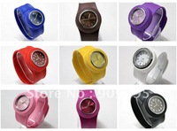 100 pcs/lot free shipping Wholesale price Silicone slap watch by UPS/DHL shiny face ss.com watch 12numbers slap watch sw01