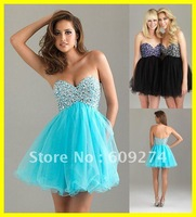 Free Shipping 2012 Sexy Strapless Open Back Organza Beads Homecoming Dresses Mini A line Blue Black Prom Dress