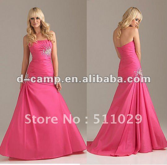 Free Shipping OC-165 Class strapless empre waist full length formal evening dress 2012(China (Mainland))