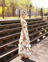 #003 2012 dress new  New Arrival Spring & Summer V neck Super Long Women maxi dress