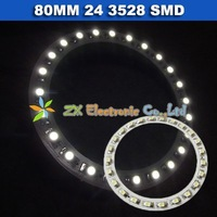 Free shipping + Wholesale + 5 pair /lot + Car angel eyes halo rings light 80mm 24 3528 1210 SMD led lamp white color