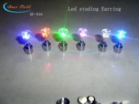 2012 NEW arrival New design 10pcs/lot(5pairs)Free shipping 20*7mm 6color led flashing stainless steel stud earring for gift