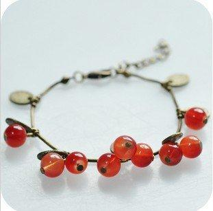 Min Order $10(Mix Order), B057, Vintage Красный Glass Cherry Сплав металла Leaf Hand ...