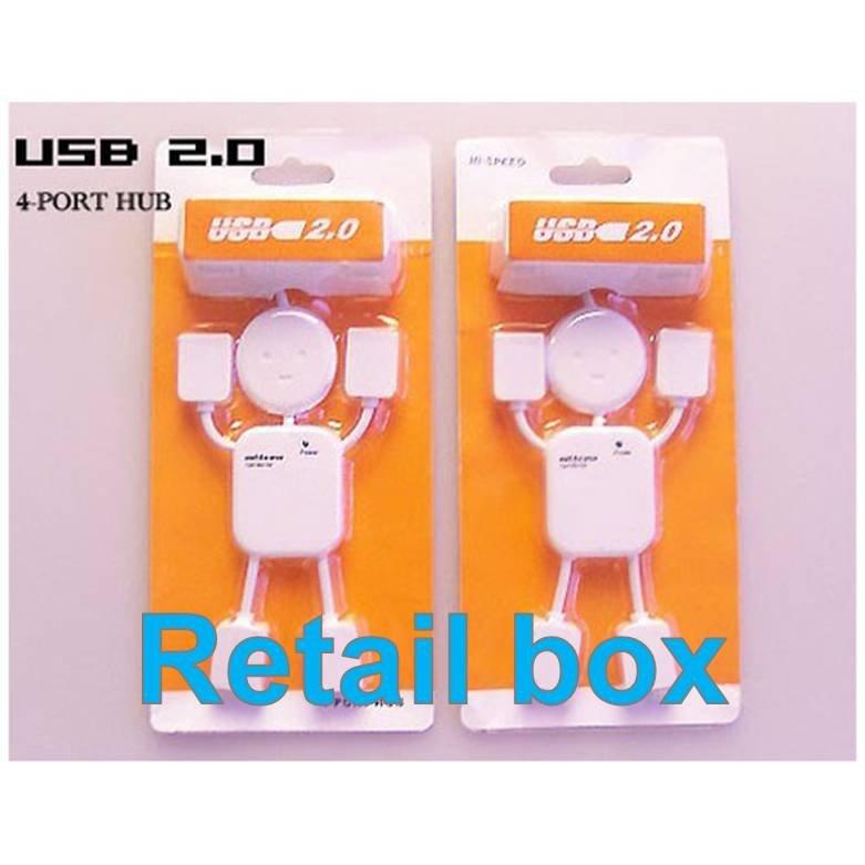 free shipping HI-SPEED USB 2.0 4 port USB HUB Doll shape usb hub With retail box 0206(China (Mainland))