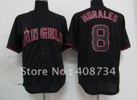 Free shipping-Los Angeles Angels #8 Morales Black Fashion jersey,Angels jerseys,baseball jerseys