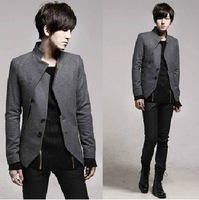 Free Shipping new korean Fashion Men's Suit Coat irregular designer blazer suits SlimFit young wool suits black /grey M-XL  0055