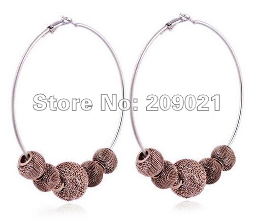 Wholesale 5 PAIRS 70mm Dangle Basketball Wives Earring Hoops With Brown Mesh Beads, Inspired Poparazzi Earrings Hoop Celebrity(China (Mainland))