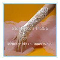 2015 Fingerless Bridal Gloves Short Satin Lace Wedding Gloves Luva De Noiva
