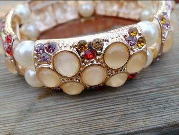 Cat's eye  Strecth bracelet  Rhinestone  pearl Bangle ,100% guarantee Good quality Free shipping