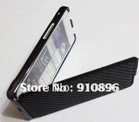 NEW Black Carbon Fiber Leather Flip Hard Case For Samsung Galaxy S2 i9100 +FREE SHIPPING
