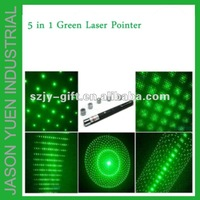 20mw 5 in 1  green laser pointer/laser pointer pen/green star pointer pen,within box ,MOQ:1 pcs