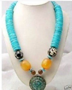 fashion man Tribal Jewelry Silver amber Turquoise Big of Pendant Necklace fashion
