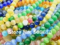 100pcs/lot 10mm Mixed Cat Eye Round Glass Bead