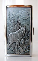 Stainless steel cigarette case=Double-sided picture=14 loaded long-wheelbase=Stand the wolf in the mountains