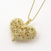 2015 New Fashion Hot-Selling&Wholesales Korean Fashion Hollow Flowers Heart Necklace(Gold)  66N98
