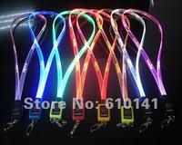 30pcs/lot LED neck strap flashing neck strap lanyard optical fiber neckstrap Multi funtions flat shape  free shipping by DHL