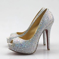 Promotion! 2012 newest hot drilling Crystal diamond wedding shoes 14cm heels ladies' dress&Evening Shoes red bottom high heels